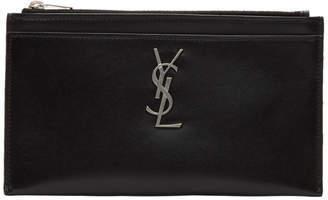 Saint Laurent Black and Silver Monogramme Bill Pouch