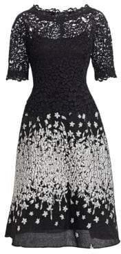 Teri Jon by Rickie Freeman Lace& Jacquard A-Line Dress
