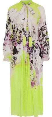 Roberto Cavalli Pussy-Bow Neon Printed Fil Coupé Silk-Georgette Midi Dress