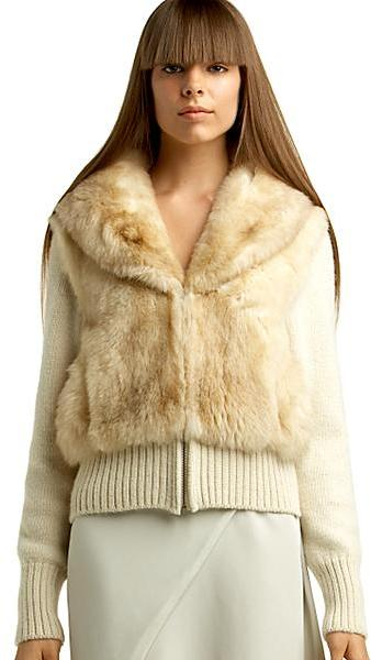 Maison Martin Margiela Fur-Trimmed Knit Jacket