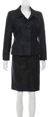 Bill Blass Structured Jacquard Skirt Suit