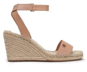 Tory Burch Leather Espadrille Wedge Sandals