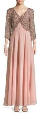 J Kara Plus Bea Blush Beaded Dress