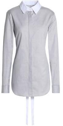 Tome Tie-Back Draped Cotton-Piqué Shirt