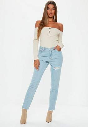 Missguided Blue Lust Low Rise Ripped Detail Jeans, Blue