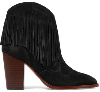 Sam Edelman - Benjie Fringed Suede Ankle Boots - Black $175 thestylecure.com