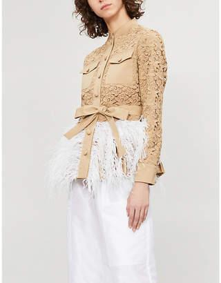 HUISHAN ZHANG Feather-trim lace jacket