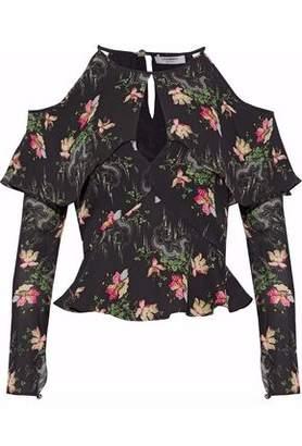 Vilshenko Cold-Shoulder Floral-Print Silk Crepe De Chine Top