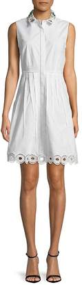 T Tahari Women's Concealed Button-Down Fit-&-Flare Dress