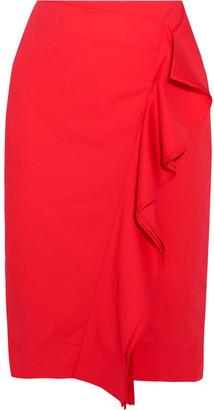 J.Crew - Ruffled Cotton-blend Poplin Skirt - Red $100 thestylecure.com
