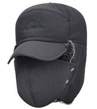 cfa93cf37c0 Holiberty 3 in 1 Winter Baseball Cap Trapper Bomber Hat Women Men Faux Fur Ear  Flaps