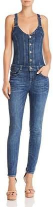 GUESS Button-Front Denim Jumpsuit