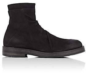 Barneys New York Men's Wrinkled-Vamp Nubuck Boots - Black