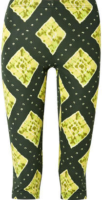 Marc Jacobs Cropped Printed Stretch-jersey Leggings - Green