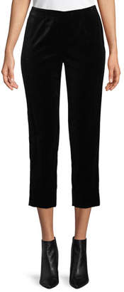 Piazza Sempione Audrey Side-Zip Straight-Leg Velvet Cropped Pants
