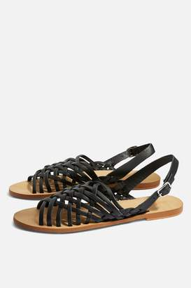 Topshop Hoxford Leather Weave Sandals