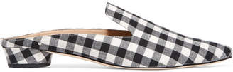 Augustine Gingham Canvas Slippers - Black