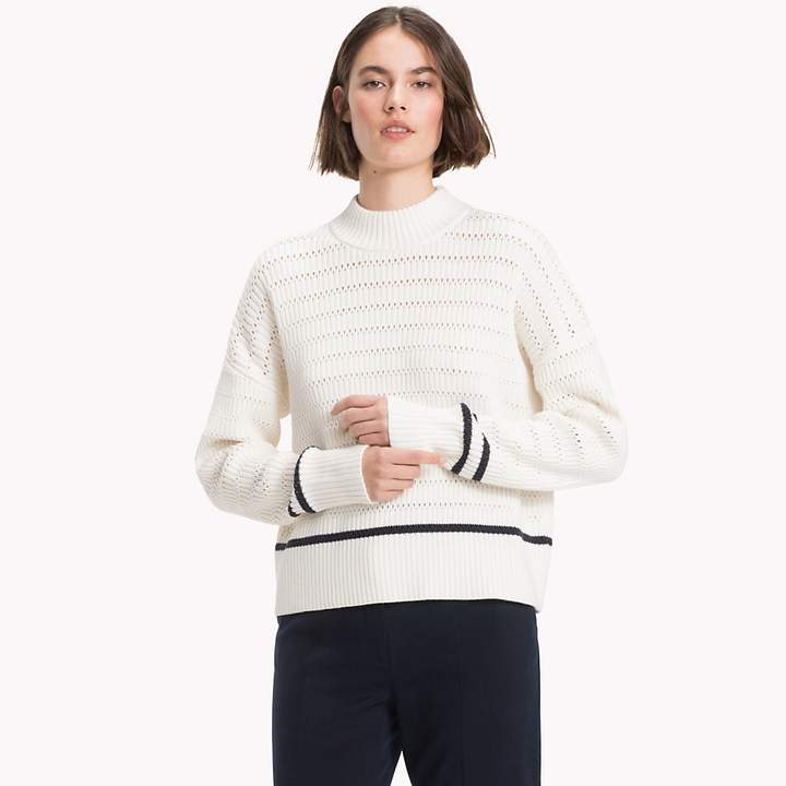 Stripe Knit Mock Neck Jumper