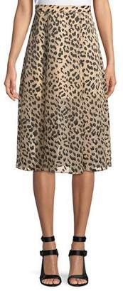 Alice + Olivia Athena Cheetah-Print Midi Skirt w/ Slits