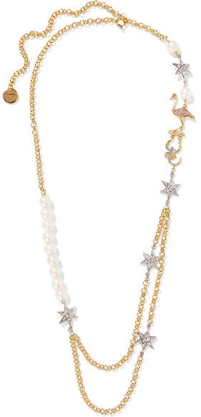 Miu Miu Miu Miu - Gold-plated, Faux Pearl And Crystal Necklace - one size