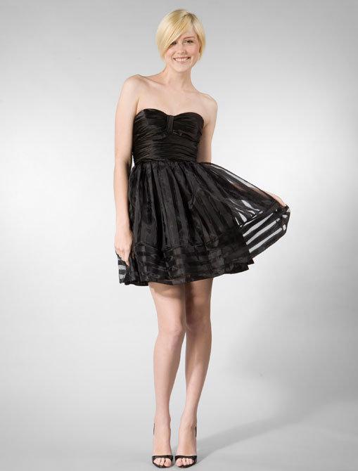 Betsey Johnson Burnout Stripe Organza Dress in Black