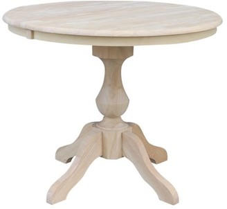 """INC International Concepts 36"""" Round Top Dining Table with 12"""" Leaf - Unfinished"""