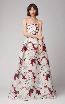 Carolina Herrera Strapless Floral Printed Silk Ball Gown