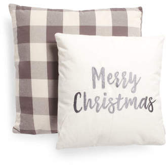 Made In India 2pk Merry Christmas & Buffalo Plaid Pillow