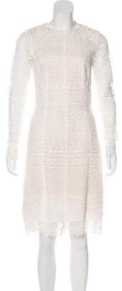 Oscar de la Renta Crochet Long Sleeve Dress