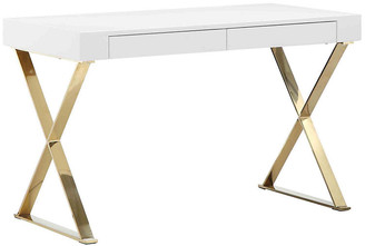 One Kings Lane X-Leg Desk - White/Gold