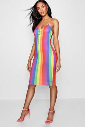 boohoo Tall Rainbow Stripe O Ring Dress