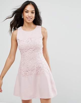 AX Paris Pink Lace Waist Skater Dress