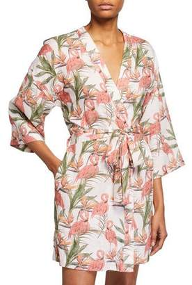 The Lazy Poet Lola Flamingo-Print Wrap Robe