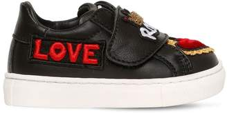 Patches Brushed Leather Low Sneakers