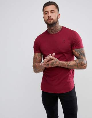 Religion Longline T-Shirt In Blood Red