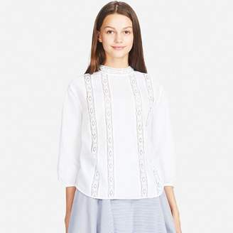 Uniqlo WOMEN Soft Cotton Lace Long Sleeve Blouse