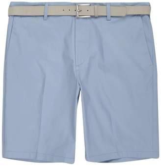 River Island Mens Light Blue belt detail slim fit shorts