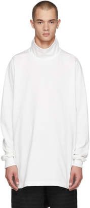 Rick Owens White Surfer Turtleneck