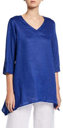 Caroline Rose Plus Size V-Neck Split-Sleeve Tissue-Linen Side-Fall Tunic