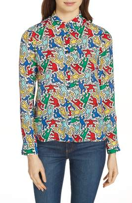 Alice + Olivia x Keith Haring Eloise Silk Blouse