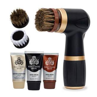 The King's Shoes Electric Shoe Polish Kit (10pcs) - Quick & Easy Shine - Portable Handheld Machine for Leather Shoe Polish & Care, 6 Brush, & Brown Shoe Cream, Leather Conditioner Set