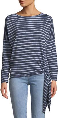 Allen Allen Striped Long-Sleeve Side-Tie Tee