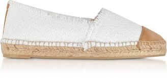 Castaner Kampala White Canvas and Natural Suede Flat Espadrillas