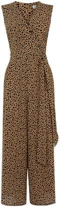 Next Womens Warehouse Tan Animal Print Culotte Jumpsuit