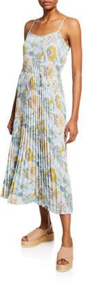 Vince Marine Garden Pleated Long Cami Dress