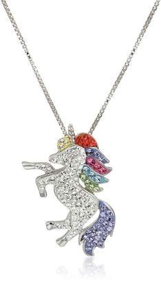 Swarovski Amazon Collection Carnevale Sterling Silver Unicorn Made with Elements Pendant Necklace, 18""