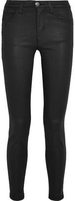 Current/Elliott - The High Waist Coated Skinny Jeans - Black $190 thestylecure.com
