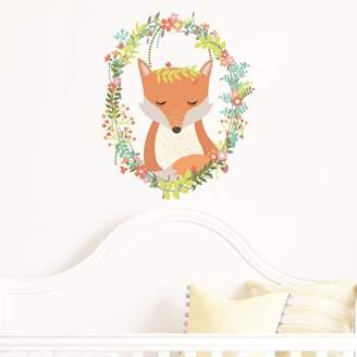 Little Sticker Boy Woodland Wreath Fox Wall Decal