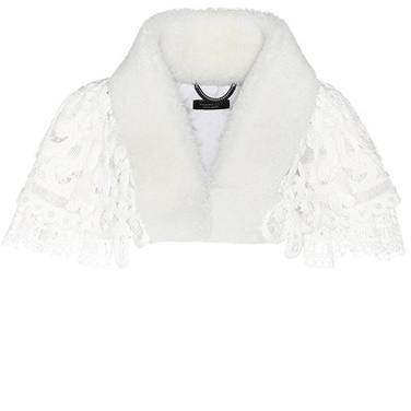 Burberry Burberry Lace capelet with shearling collar