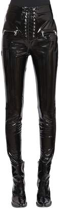 Unravel Lace Up Skinny Latex Pants